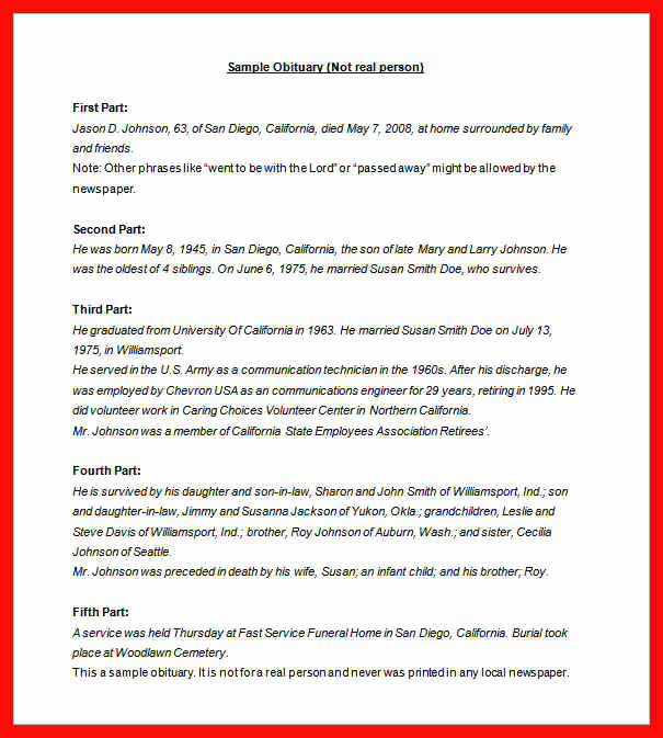 Sample Obituary for Father Beautiful Obituary Examples for son