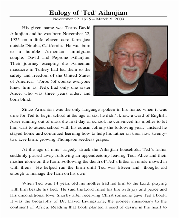 Sample Obituary for Father Best Of 13 Eulogy Examples Pdf Doc Psd