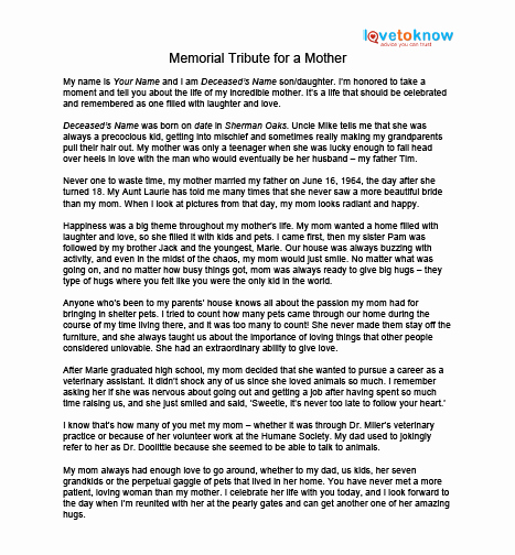 Sample Obituary for Mother Awesome Collection Words Tribute to Deceased S Daily