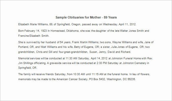 Sample Obituary for Mother Beautiful Obituary Template for Mother 12 Free Word Excel Pdf