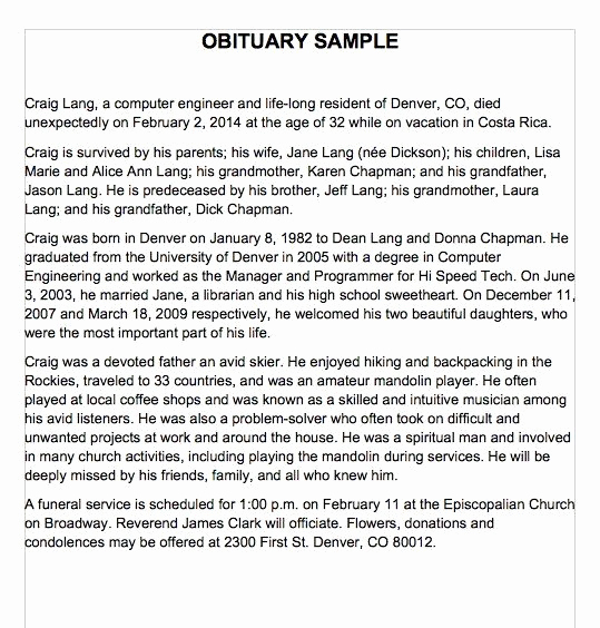 Sample Obituary for Mother Best Of 25 Obituary Templates and Samples Template Lab