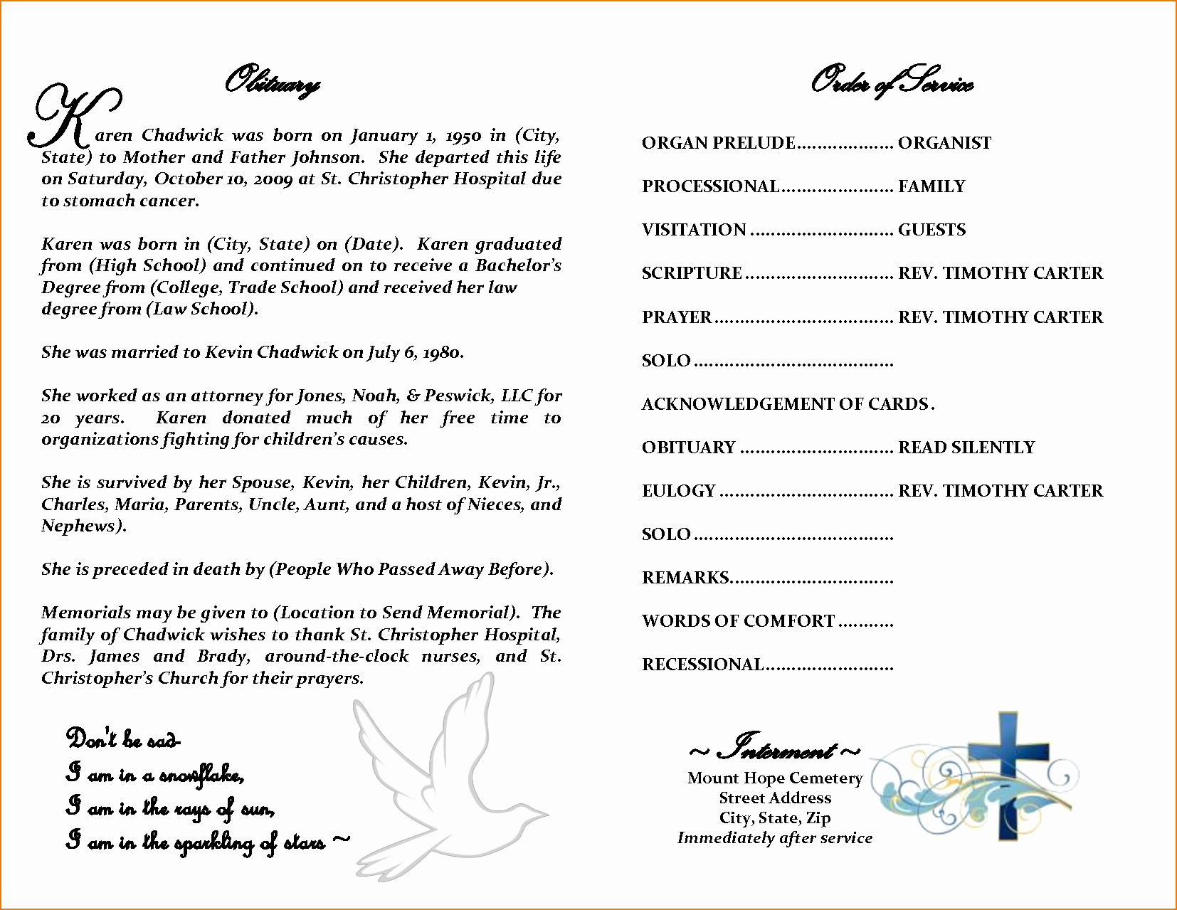Sample Obituary for Mother Inspirational 5 Obituary Template Word