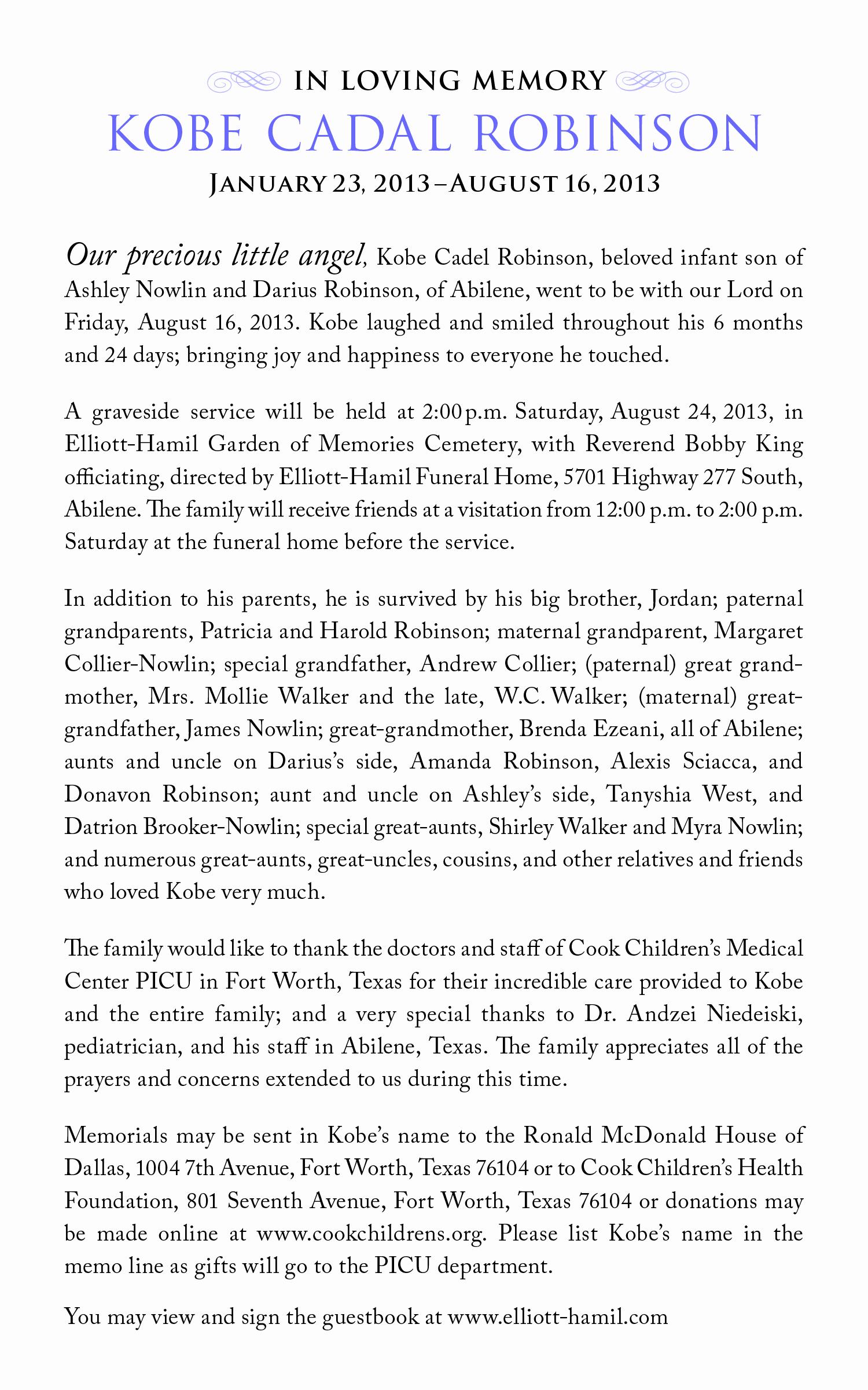 Sample Obituary for Mother Inspirational Sample Infant Obituaries