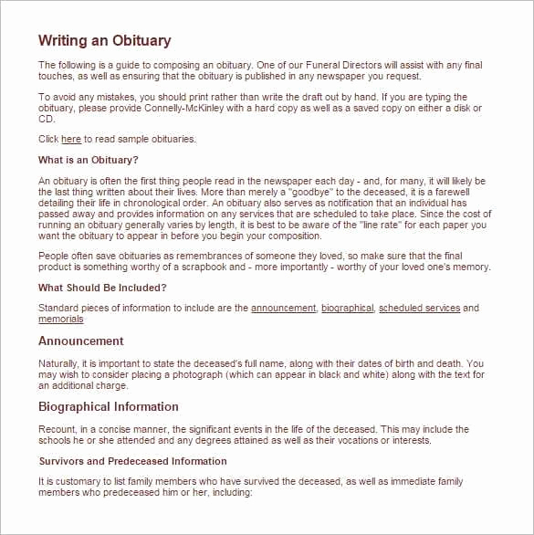Sample Obituary for Mother Unique 11 Obituary Templates Word Excel Pdf formats