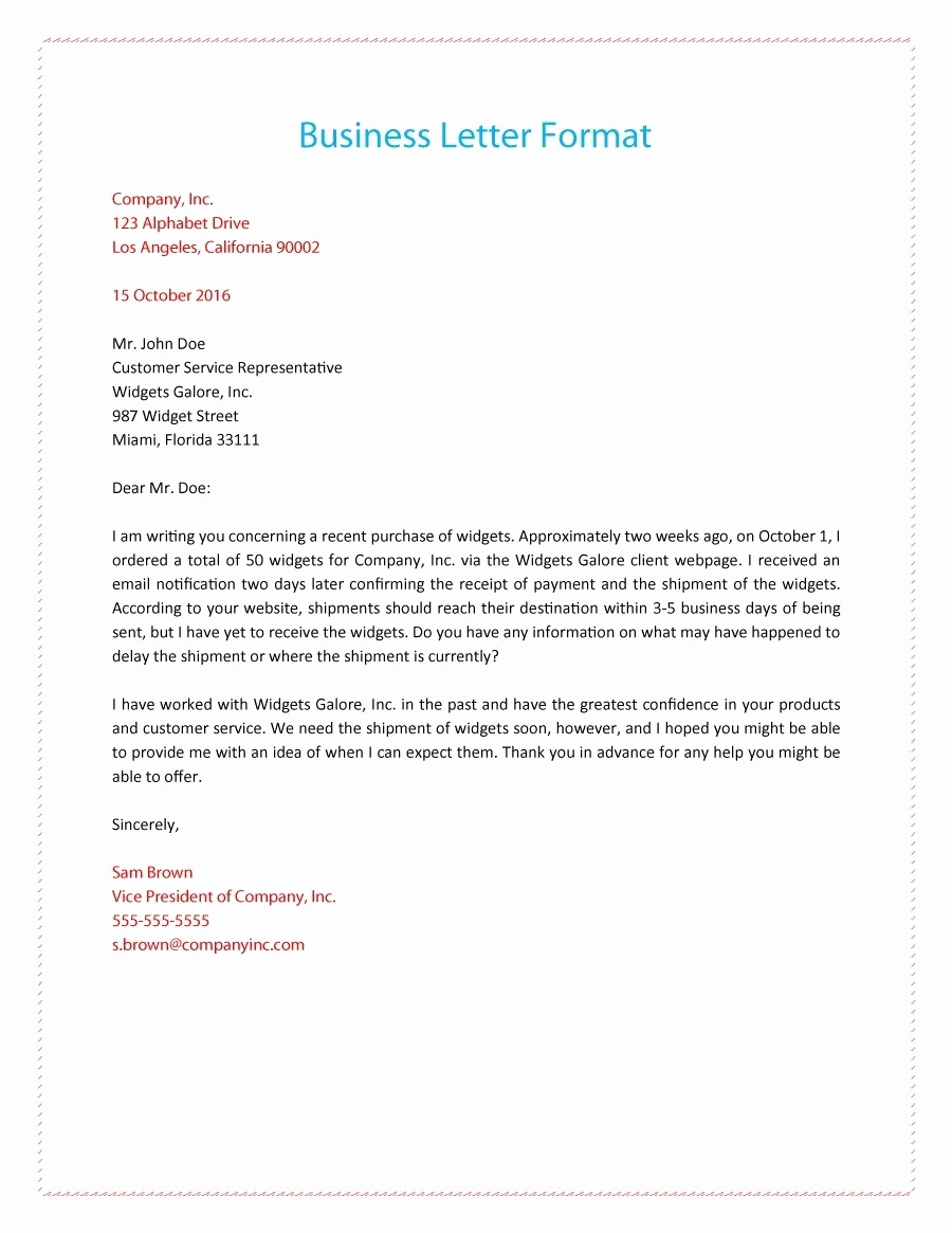 Sample Of Buisness Letter Best Of Business Letter format Example