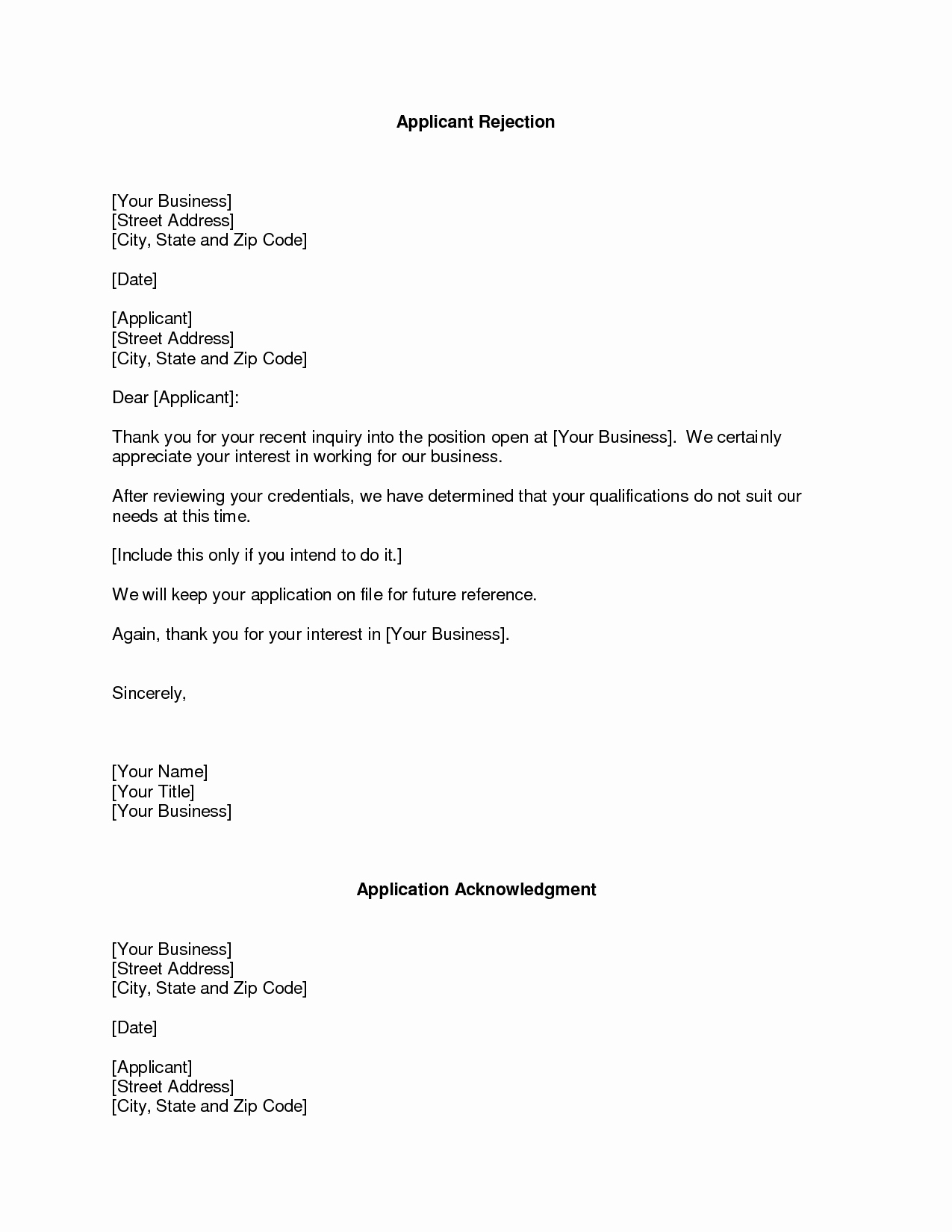 Sample Of Buisness Letter Luxury Business Rejection Letter the Rejection Letter format is