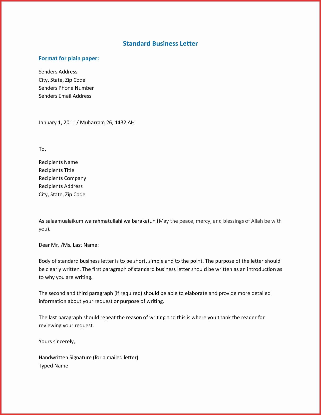 Sample Of Business Leter Awesome Business Letter format Businessletterformatinword