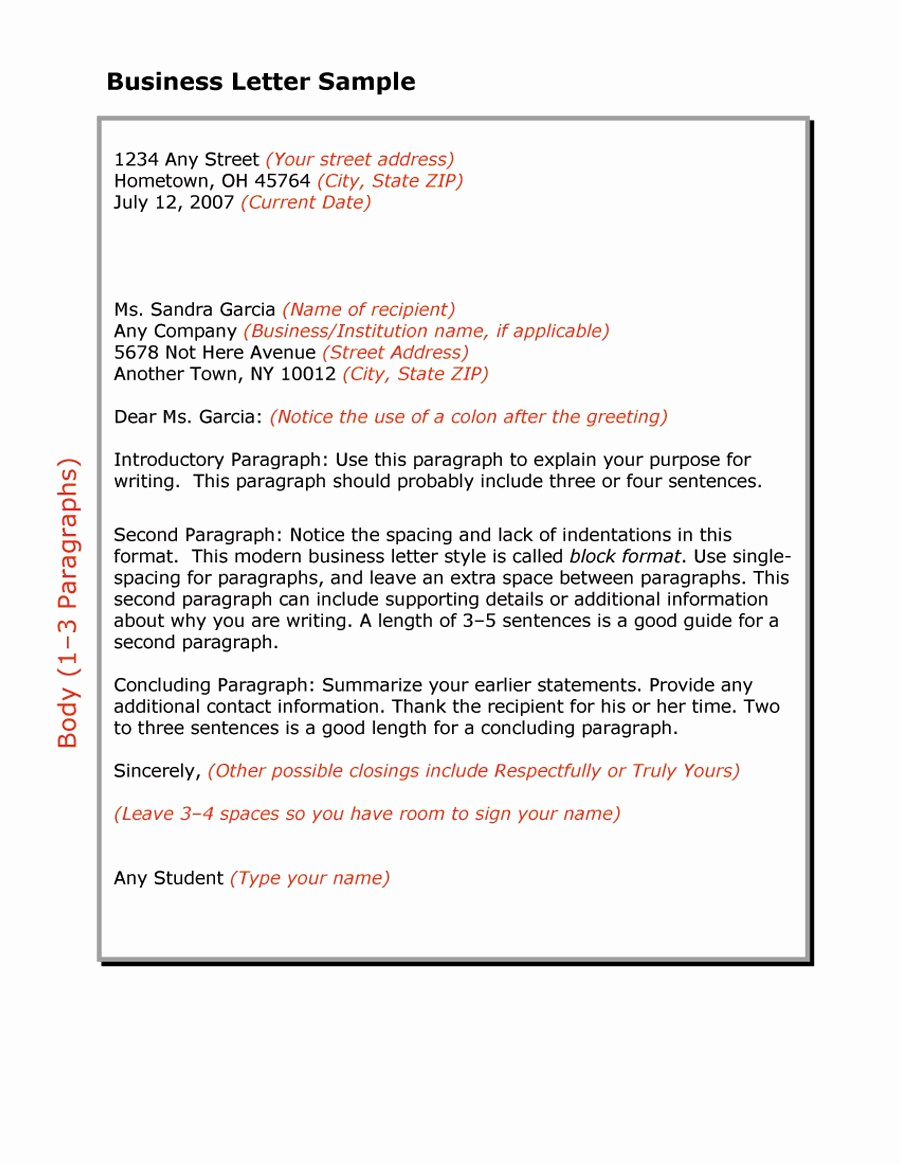 Sample Of Business Leter New 35 formal Business Letter format Templates & Examples