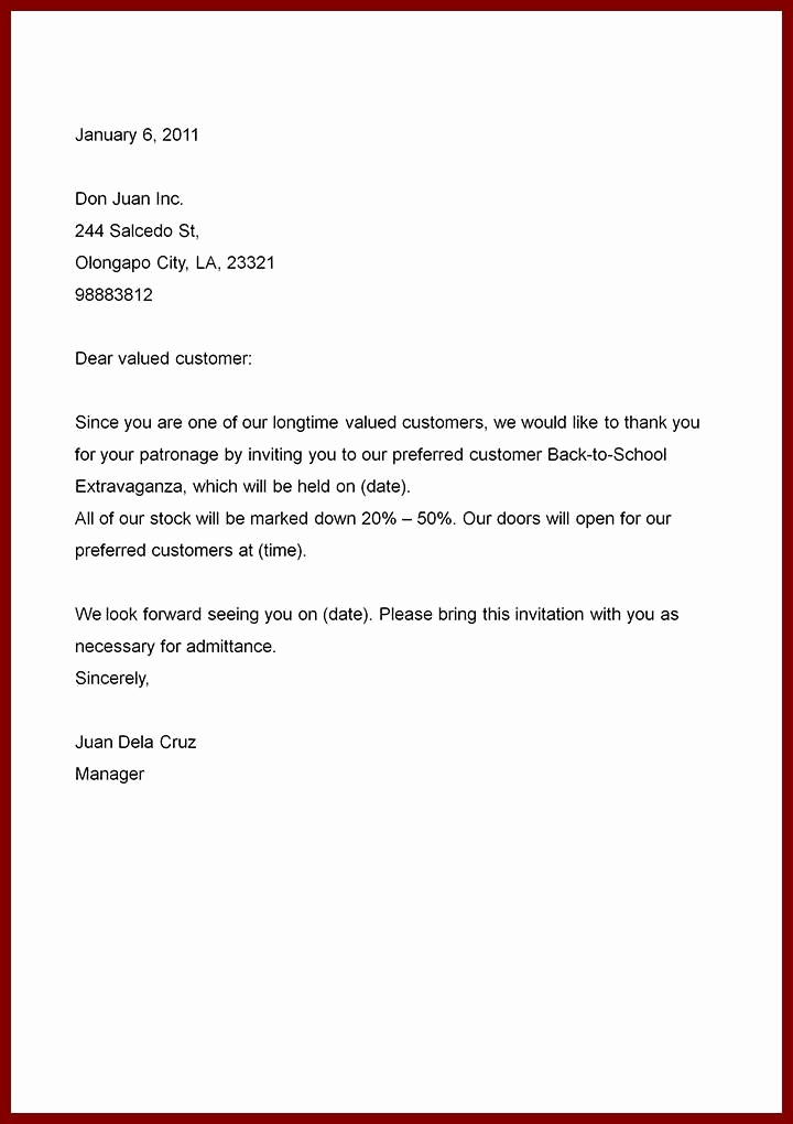 Sample Of Business Letter Fresh Simple Business Letter Sample