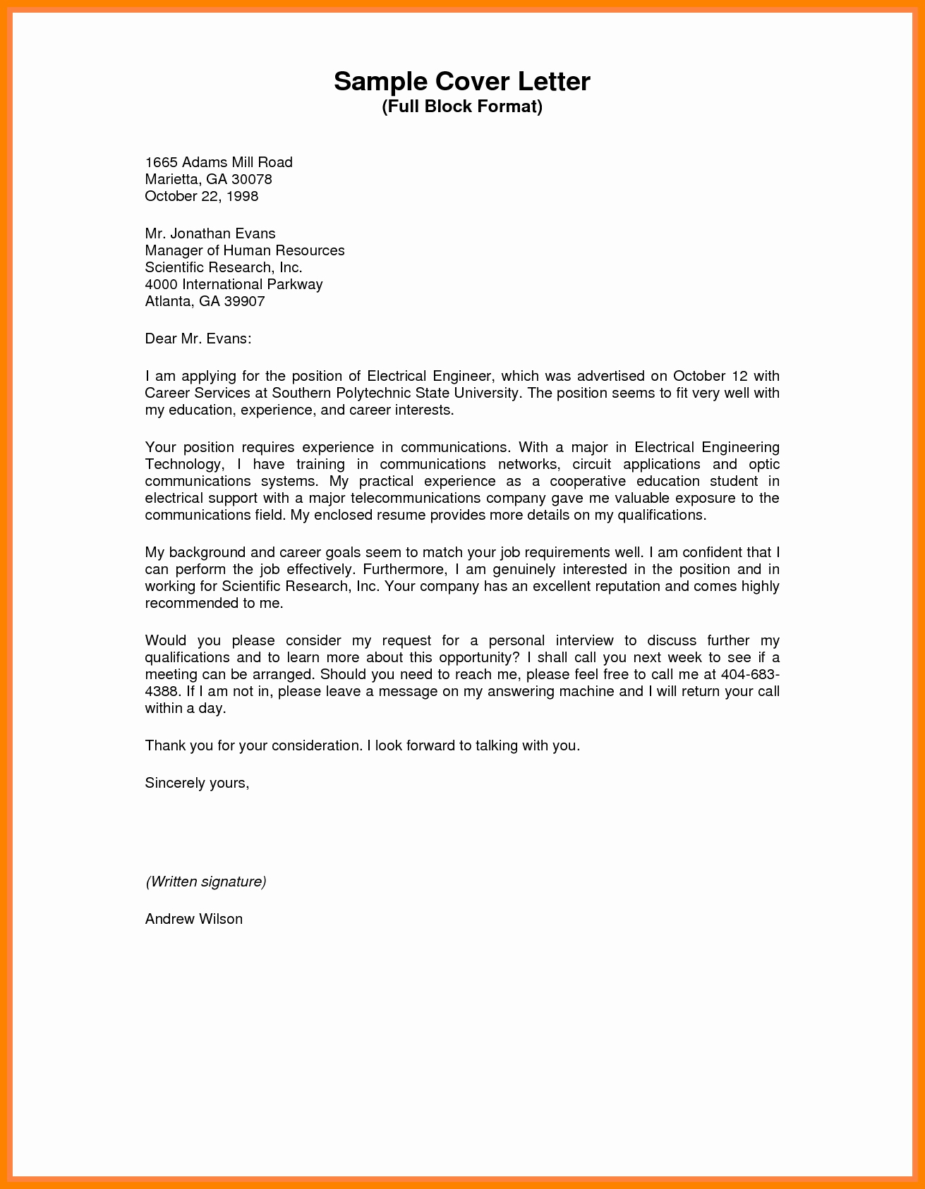Sample Of Business Letters Awesome Block Style Business Letter Example