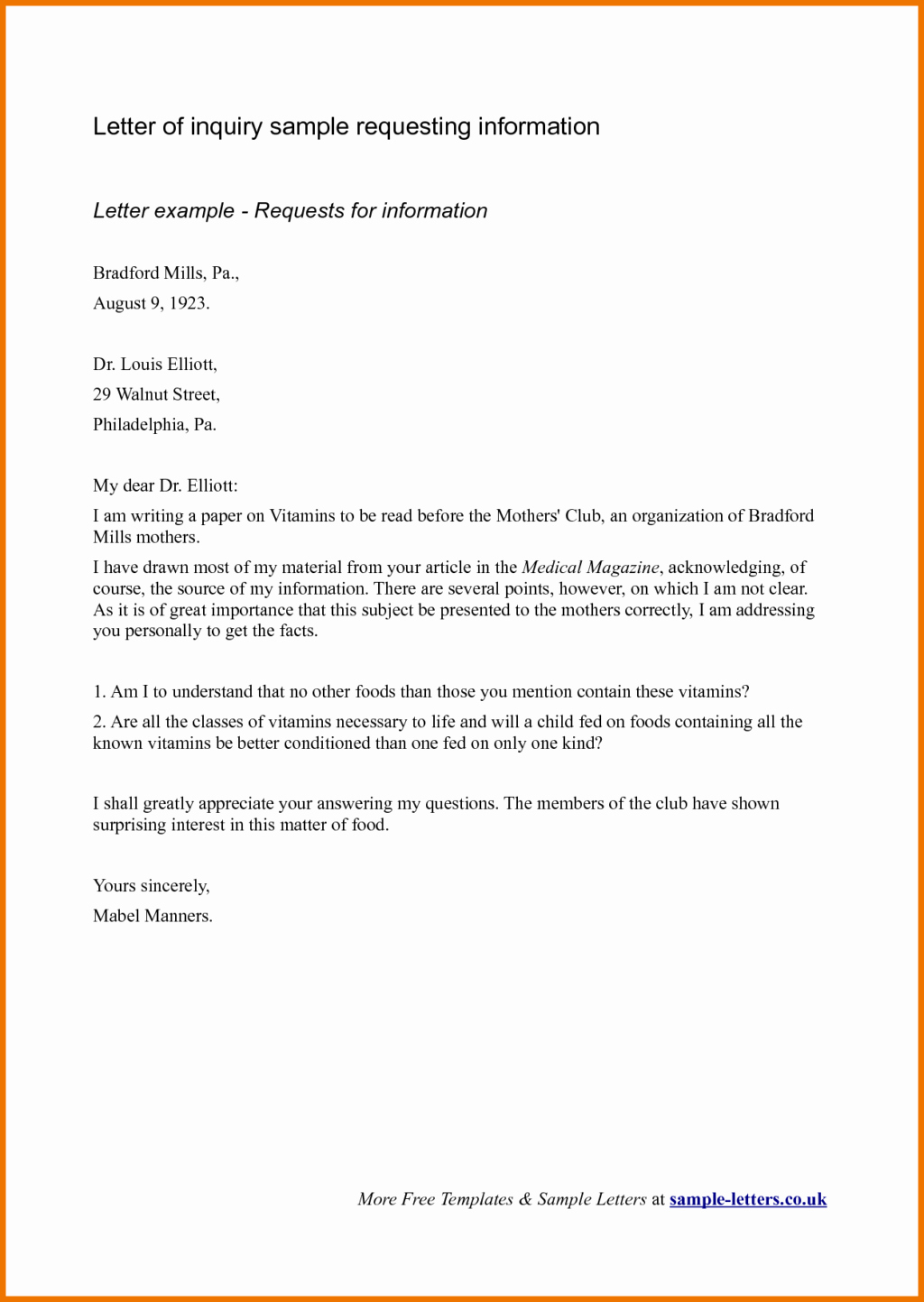 Sample Of Business Letters Best Of Business Inquiry Letter Sample for Requesting Information