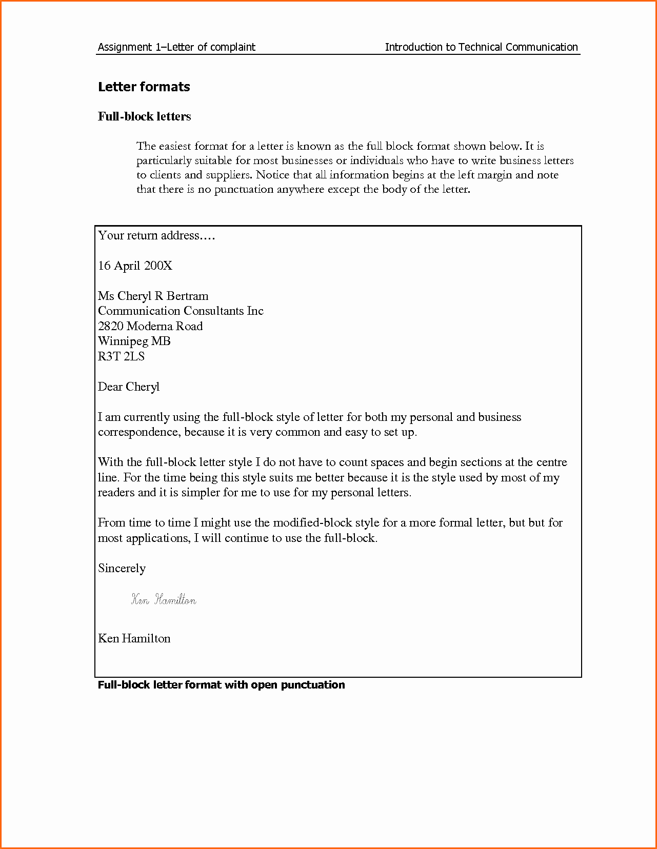 business plaint letter format
