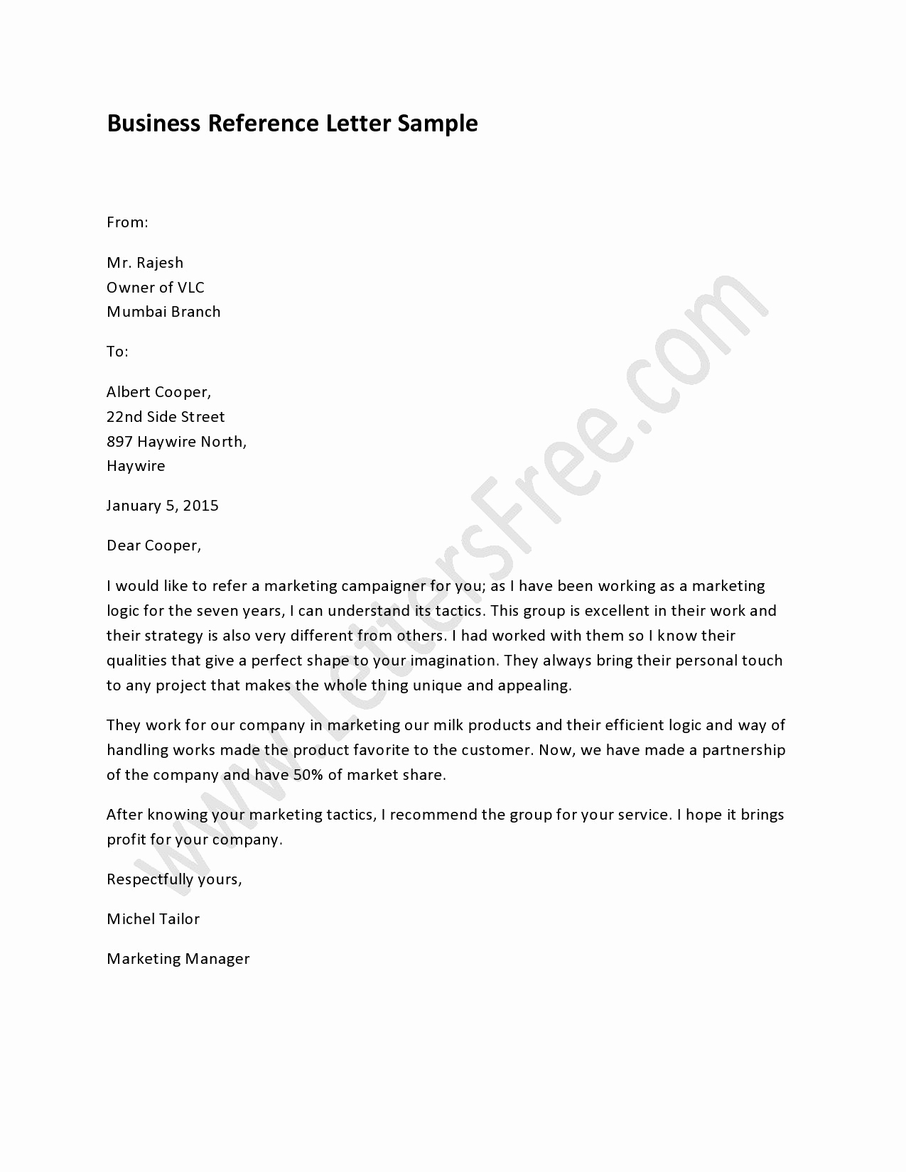 Sample Of Bussiness Letters Awesome Sample Business Reference Letter How to Write A