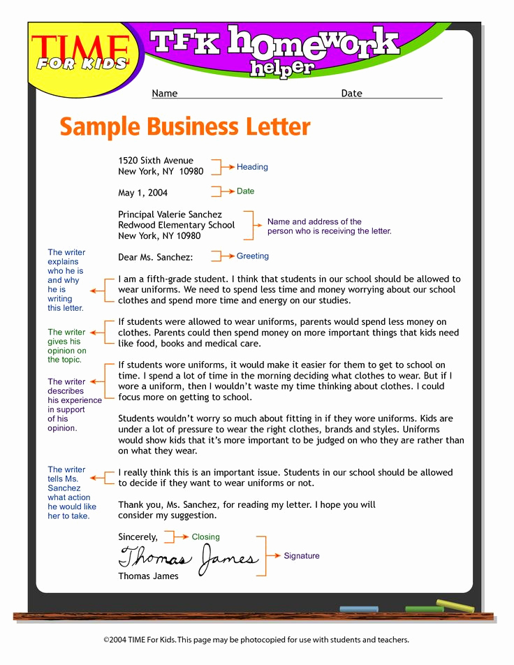 Sample Of Bussiness Letters Luxury Exandle Business Letter format for Kids Write Business