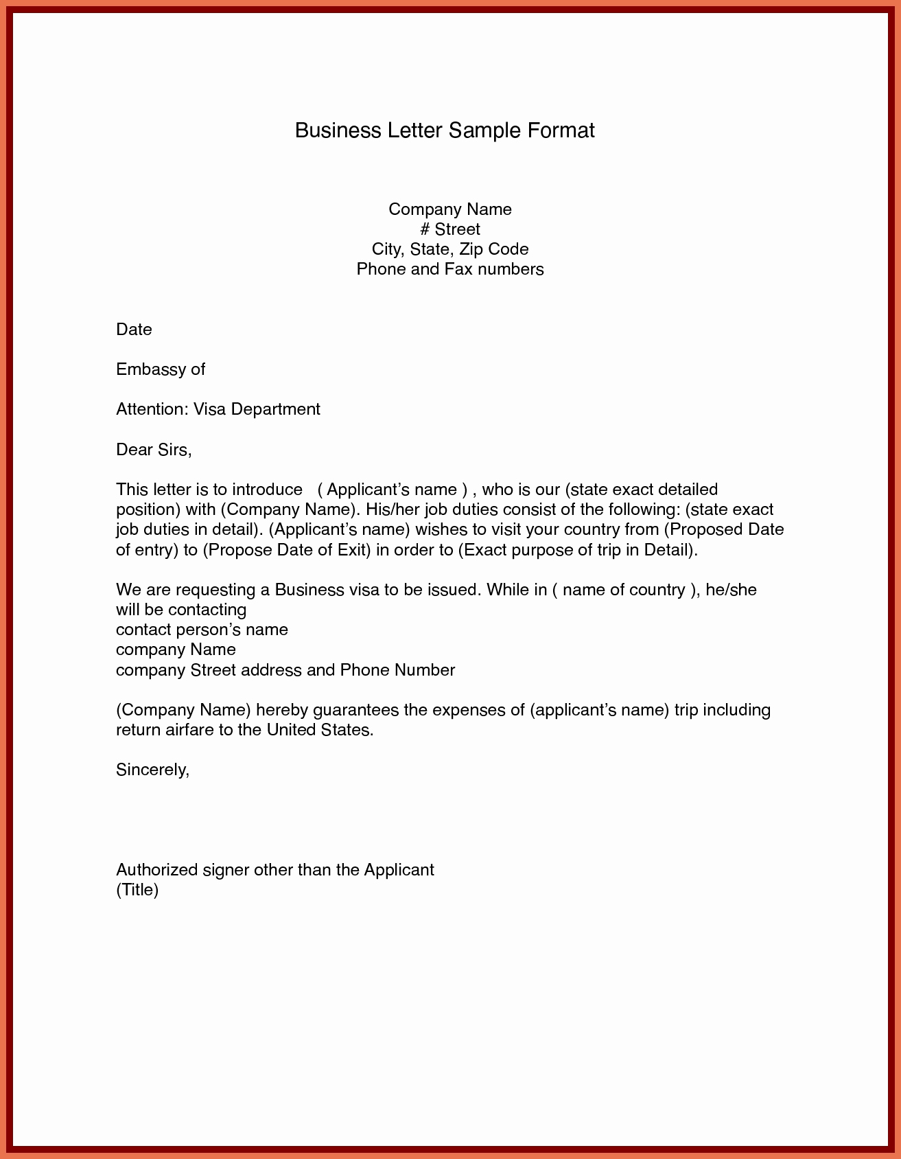 Sample Of Bussiness Letters Unique Sample Business Letter format