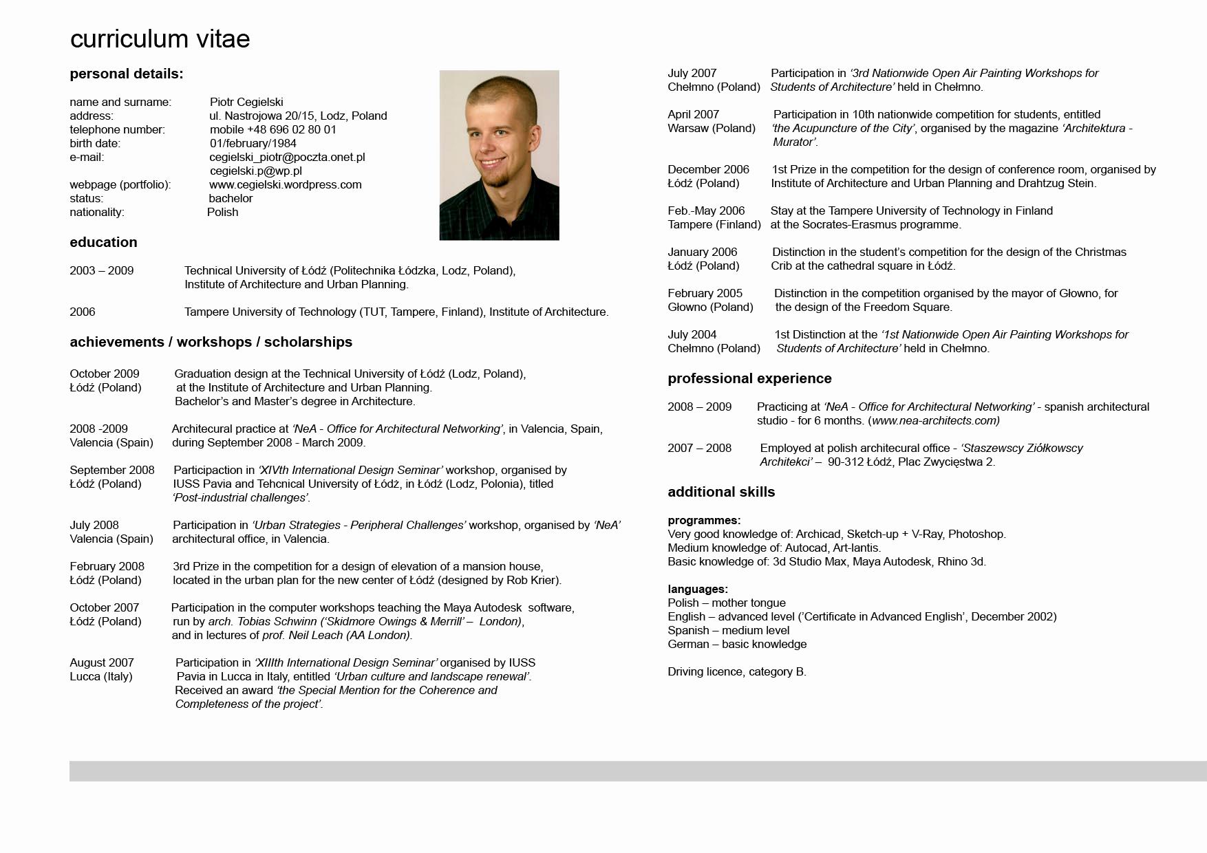 Sample Of Curriculum Vita Elegant Curriculum Vitae Resume Cv