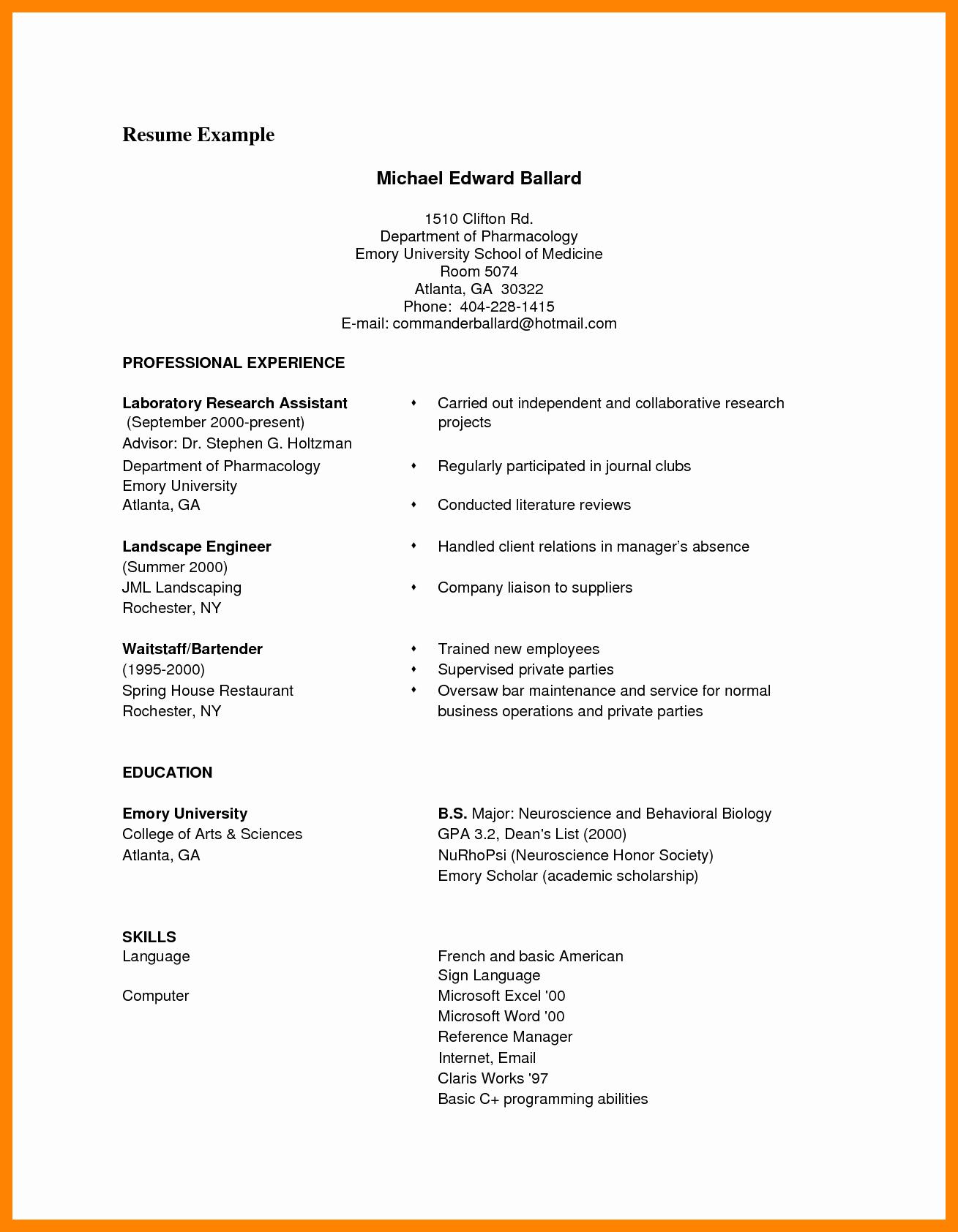 Sample Of Curriculum Vita Inspirational 9 Cv format Samples Pdf