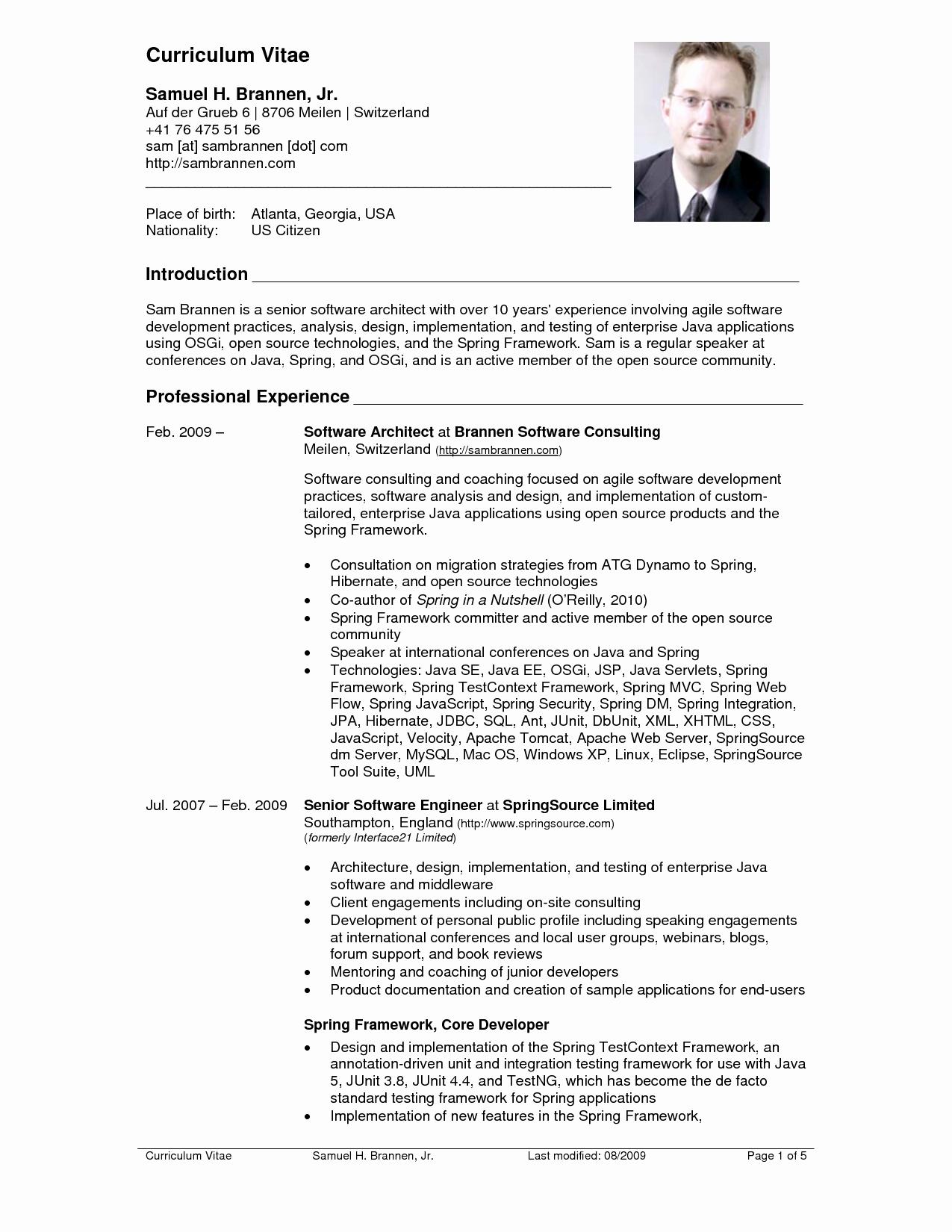 Sample Of Curriculum Vita Luxury Resume Cv