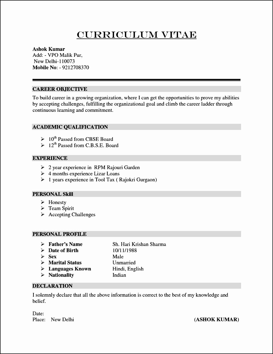 Sample Of Curriculum Vita Luxury Sample Curriculum Vitae Resume for Career Objective with