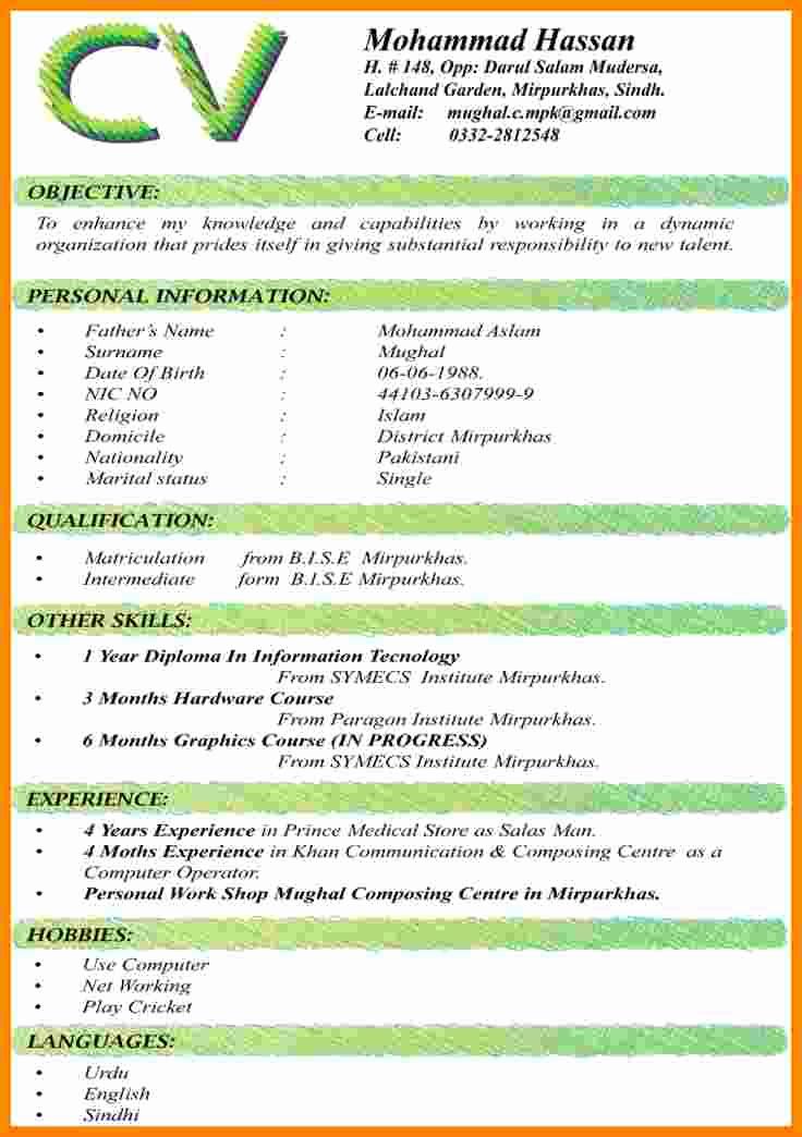 Sample Of Curriculum Vita Unique 9 Cv format Samples Pdf