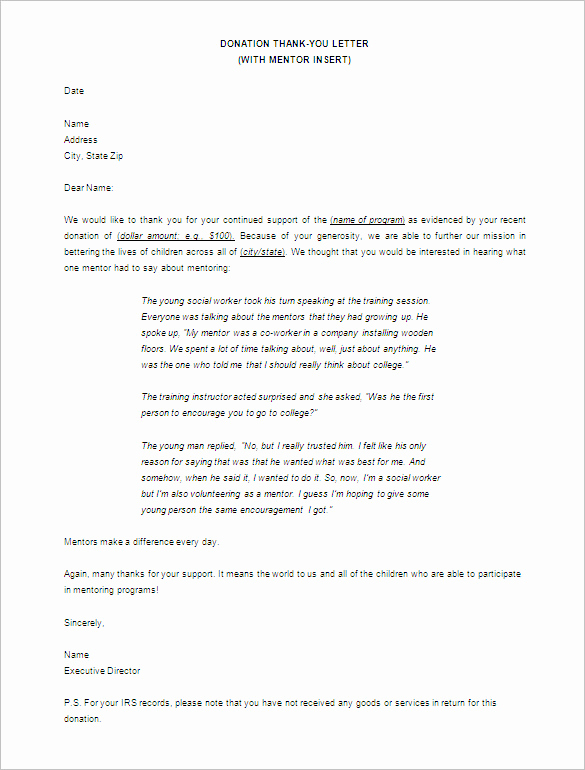Sample Of Thankyou Letters Awesome 11 Sample Thank You Letter for Donation Doc Pdf