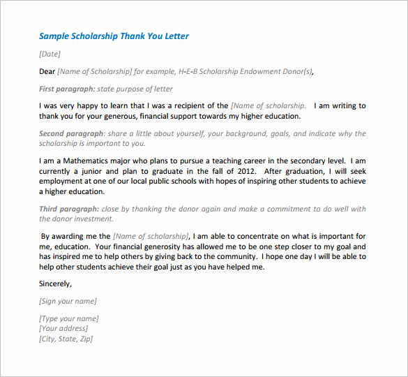 Sample Of Thankyou Letters Lovely Scholarship Thank You Letter – 8 Free Word Excel Pdf