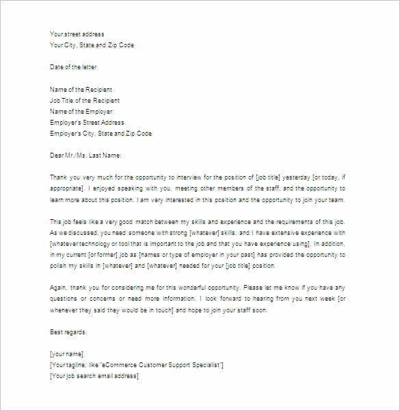 Sample Of Thankyou Letters Lovely Thank You Letter for Interview – 8 Free Sample Example