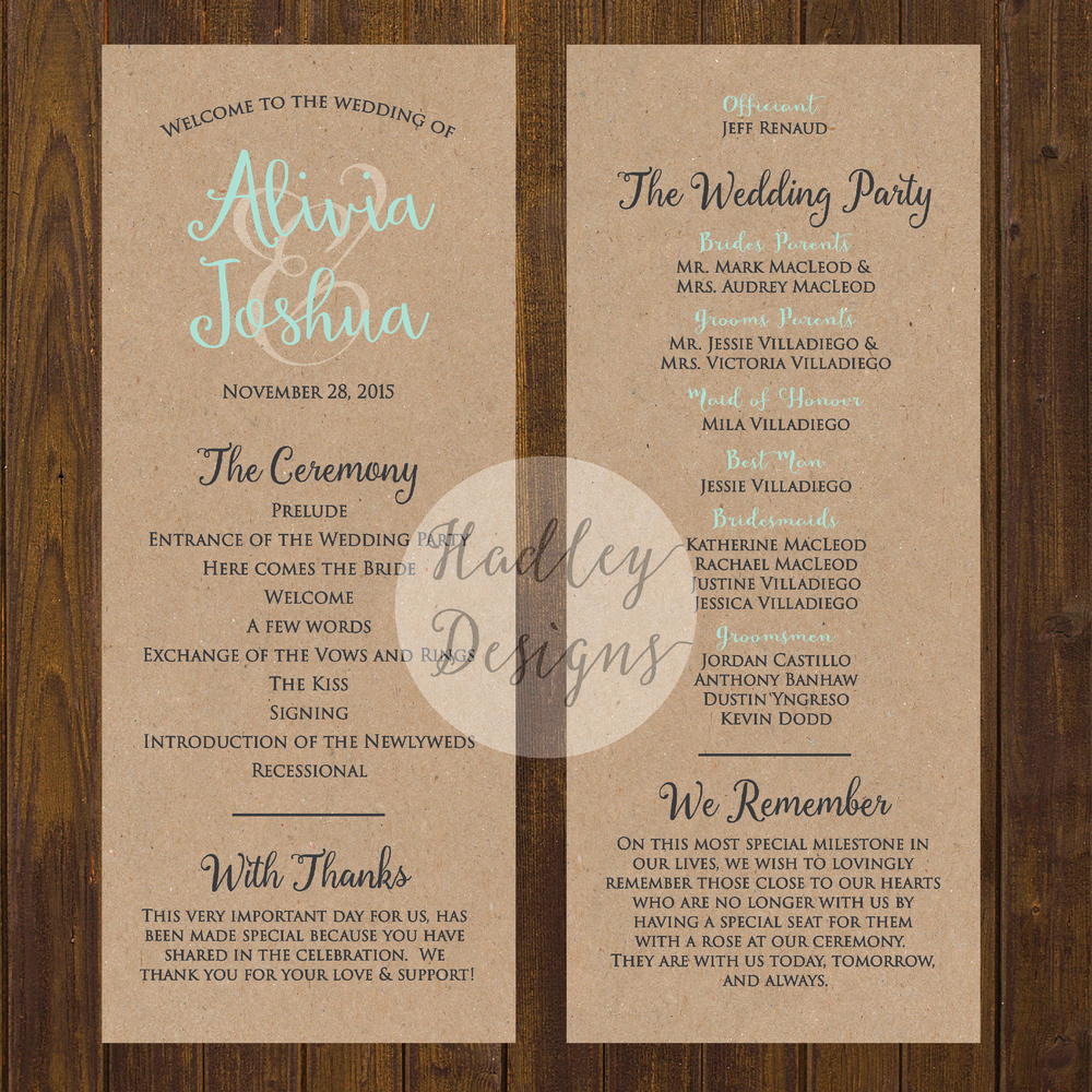 Sample Of Wedding Programme Awesome Hadley Designs Programs