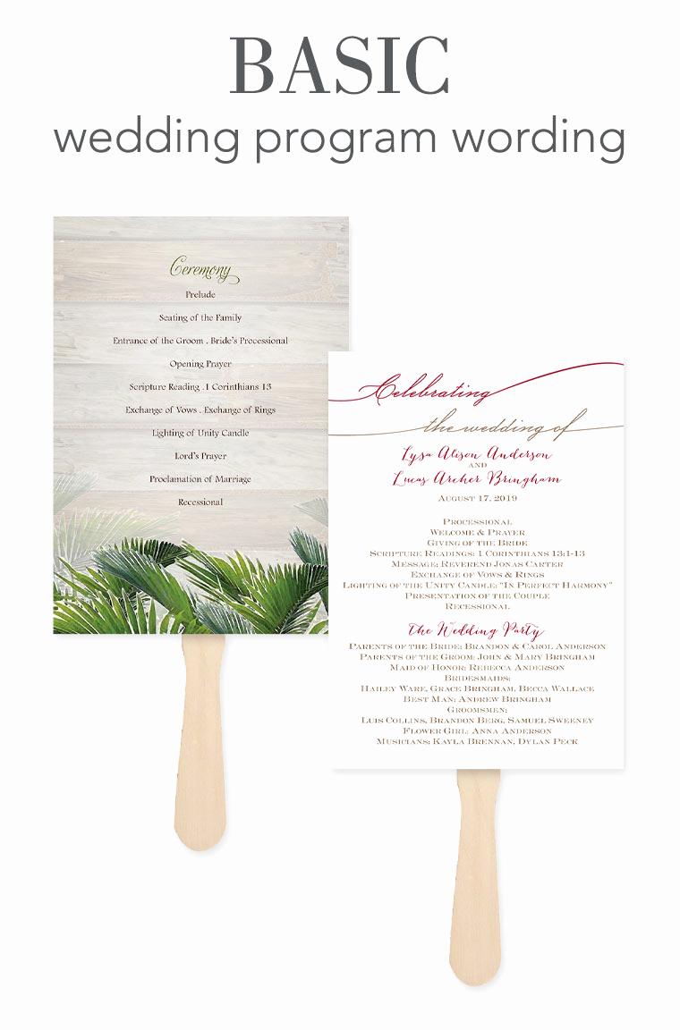 wording wedding program