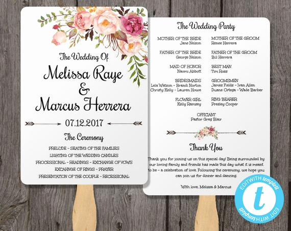 Sample Of Wedding Programme Awesome Wedding Program Fan Template Bohemian Floral Instant by