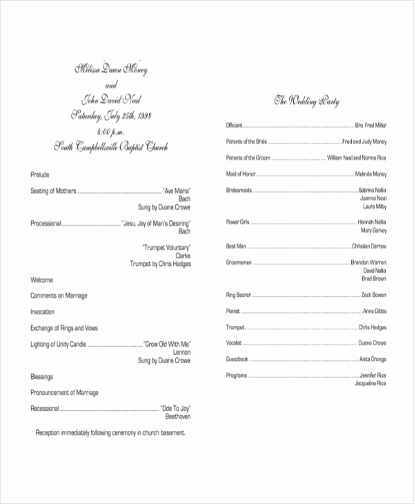 Sample Of Wedding Programme Beautiful 10 Wedding Program Templates Free Sample Example