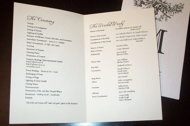 Sample Of Wedding Programme Elegant Wedding Program Templates