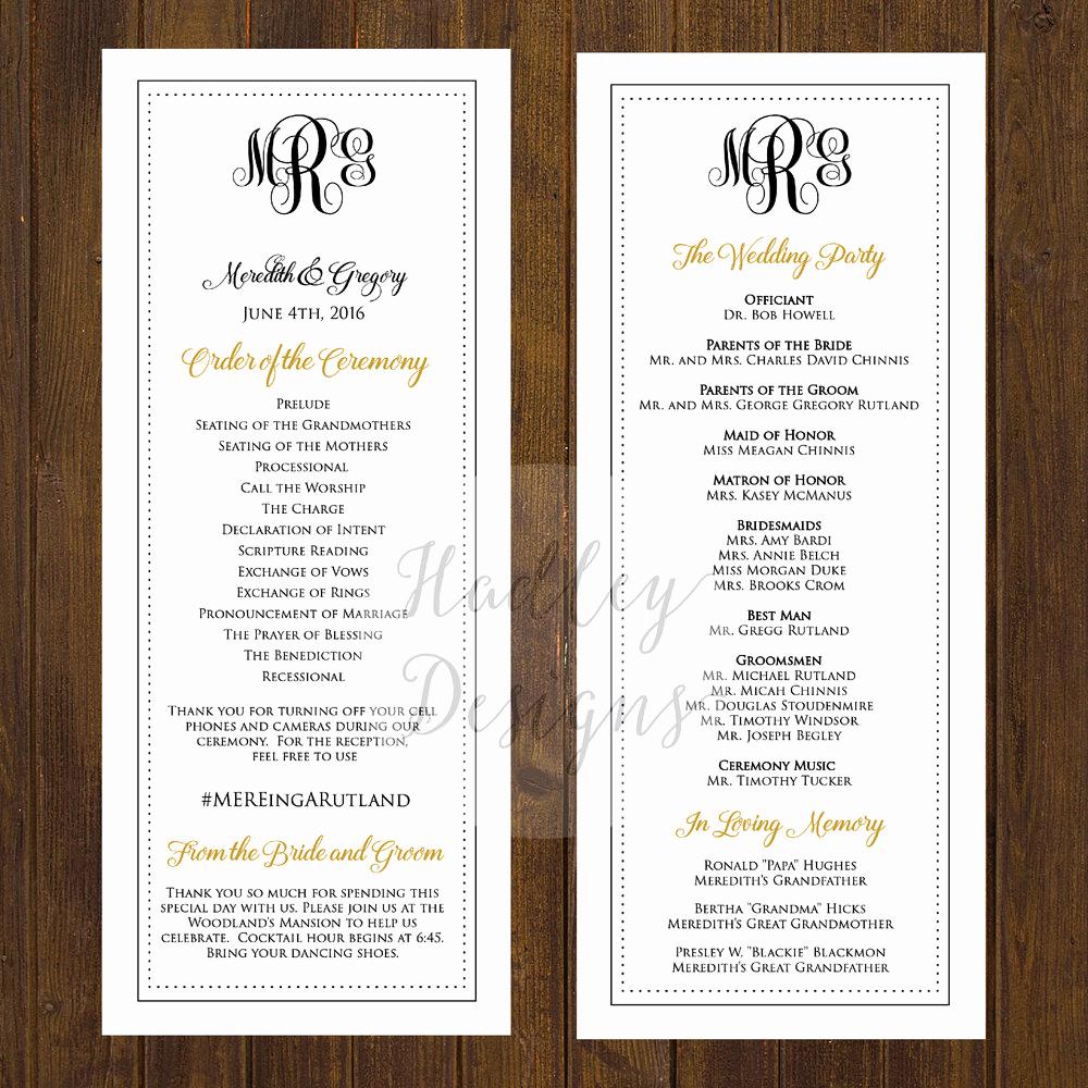 Sample Of Wedding Programme Fresh Hadley Designs Programs