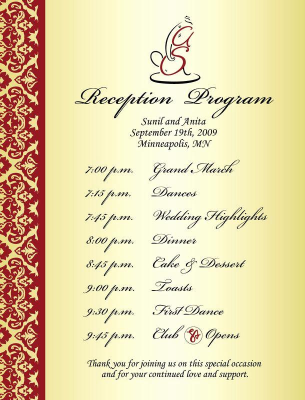 Sample Of Wedding Programme Unique Wedding Reception Program Sample