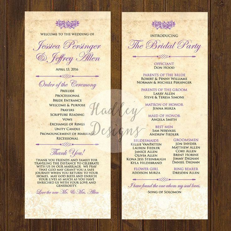wedding program examples