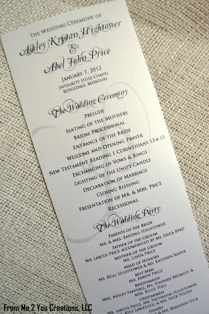 Sample Of Wedding Programs Beautiful Sample Elegant Wedding Program 4x10 Metallic Ecru Cream