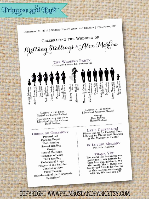 Sample Of Wedding Programs New Silhouette Wedding Program Sample Pdf by Primroseandpark