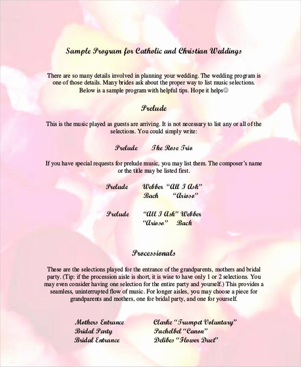 Sample Of Wedding Programs Unique 6 Wedding Program Free Sample Example format Download