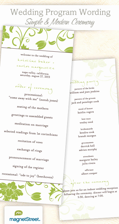 Sample Of Wedding Programs Unique Wedding Program Wording & Templateswedding Program Wording
