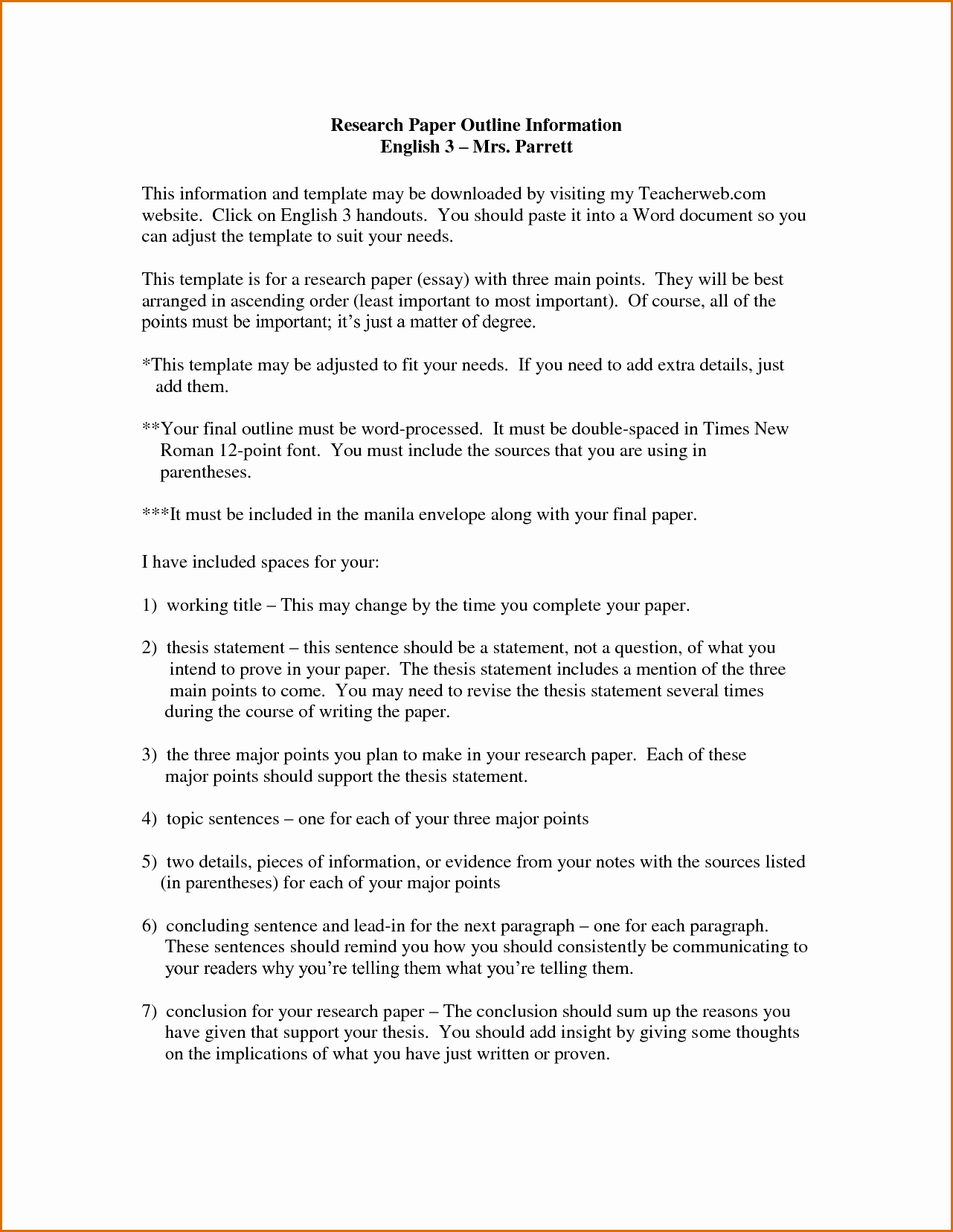 Sample Outlines for Research Paper Elegant 9 Research Paper Outline Template