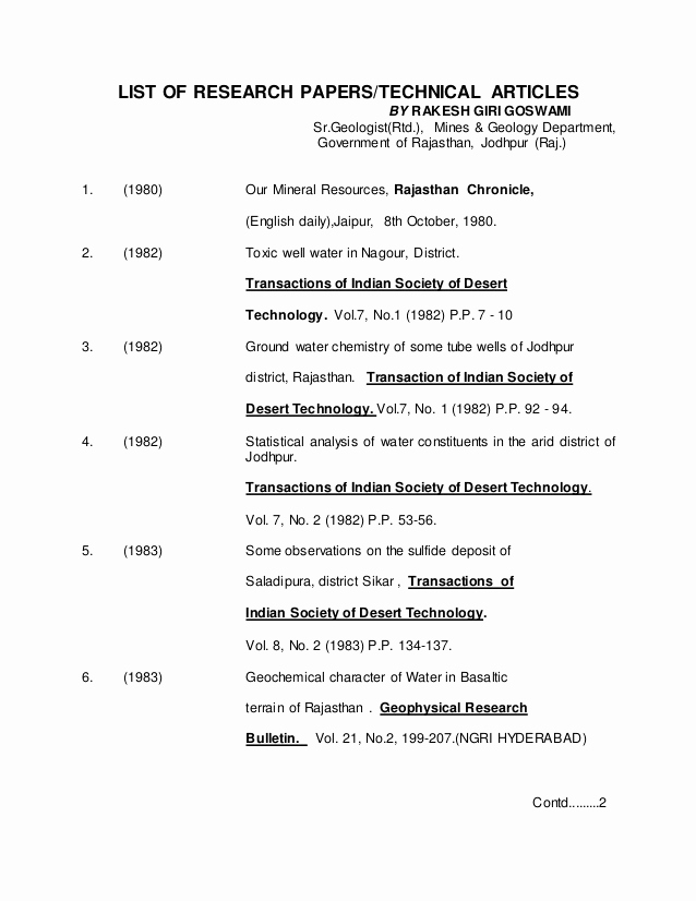 Sample Outlines for Research Paper Elegant List Of Research Papers