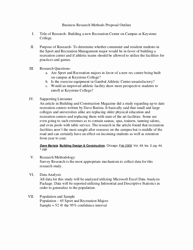 Sample Outlines for Research Paper Unique Business Research Methods Proposal Outline