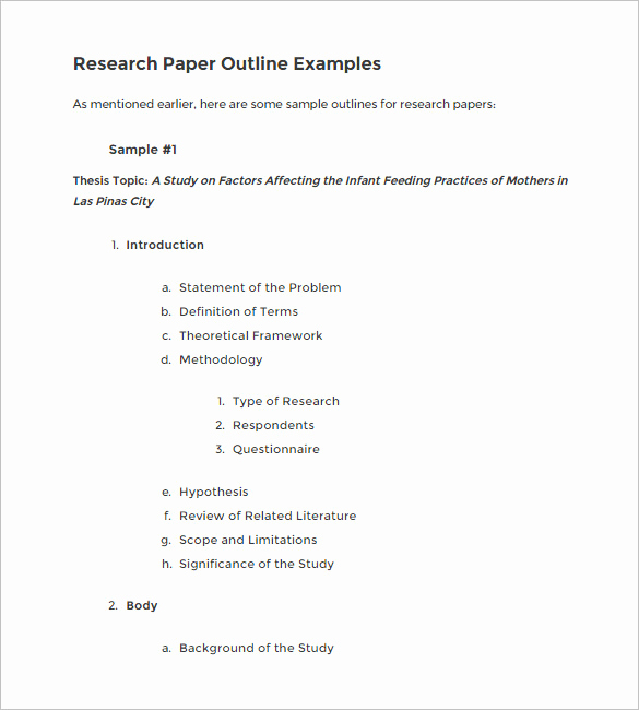Sample Outlines for Research Papers New 6 Blank Outline Templates Doc Pdf