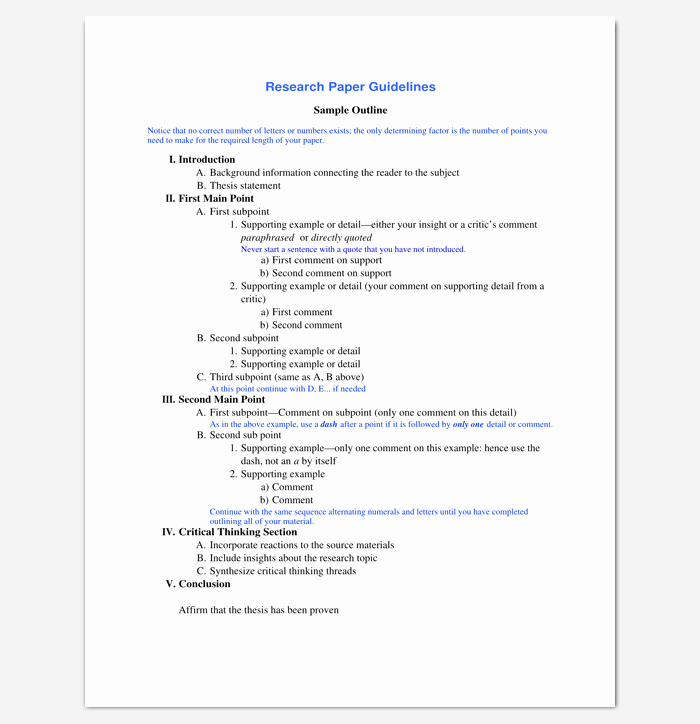 Sample Outlines for Research Papers New Research Paper Outline Template 36 Examples formats