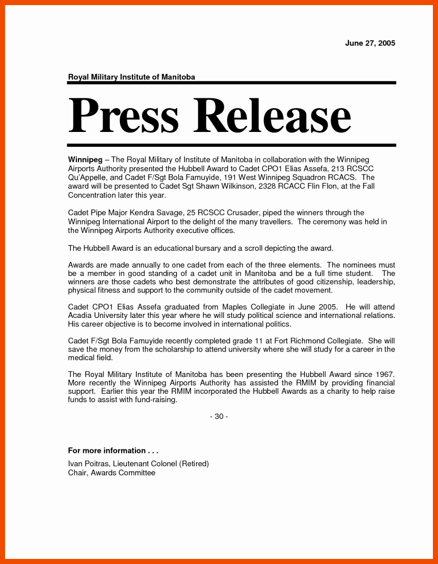 Sample Press Release Template Awesome 6 7 Press Release format