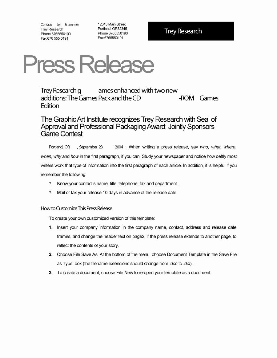 Sample Press Release Template Beautiful 47 Free Press Release format Templates Examples & Samples