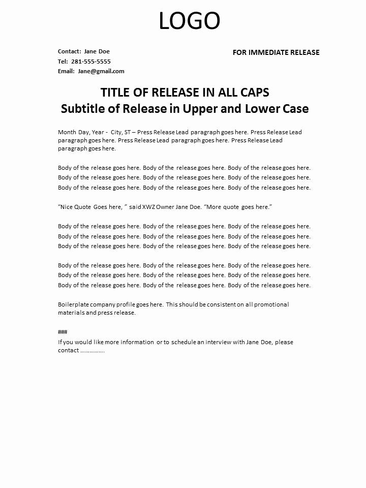 Sample Press Release Template Fresh Press Release Template