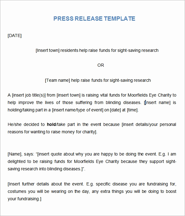 Sample Press Release Template Fresh Sample Press Release Templates 7 Free Documents
