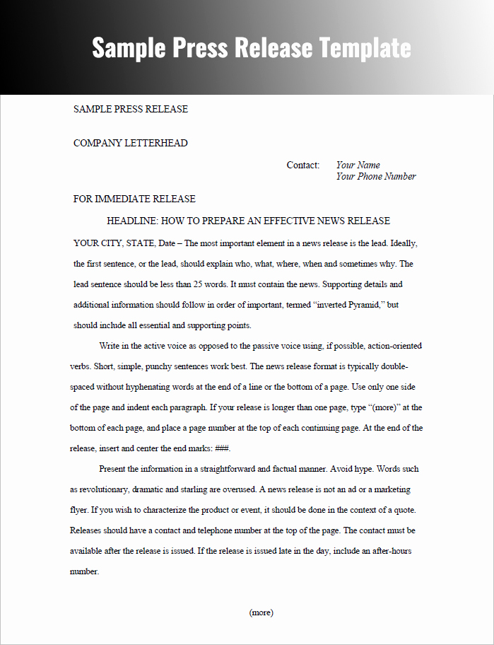 Sample Press Release Template Inspirational Press Release Templates Free Word Pdf Doc formats