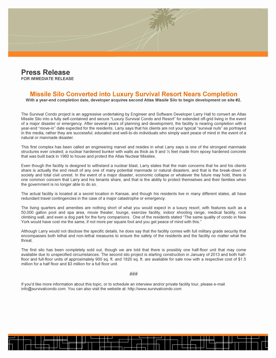 Sample Press Release Template Luxury 47 Free Press Release format Templates Examples & Samples